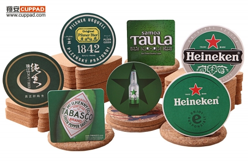 Beer Coasters Green Bottle Glass