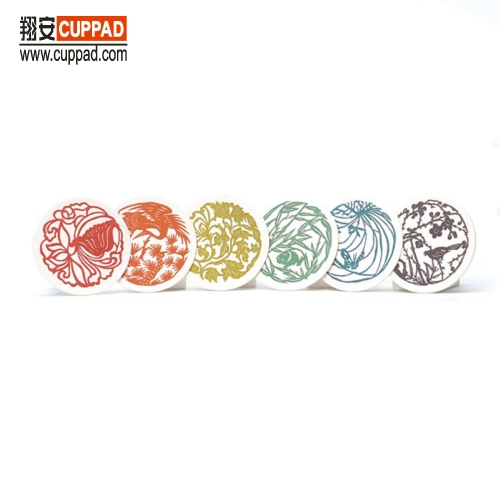 Gold Foil Colorful Designs Set Package Embossed Natural Cotton Coaster