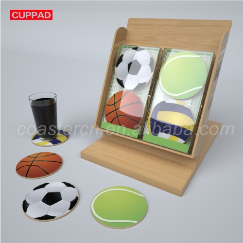 Wooden Bamboo Shelf Sport Ball Race MDF Coaster