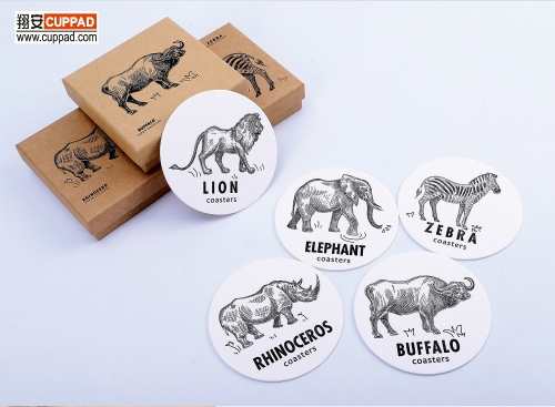 Embossed Cotton Coaster Animal Package Set
