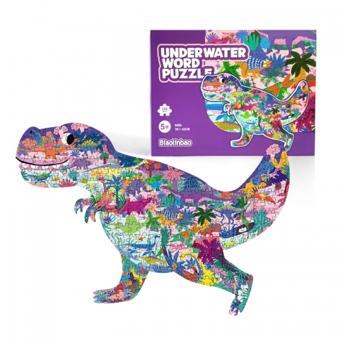 Wholesale Newest unique shaped design cartoon cardboard educational toy dinosaur kids puzzle game
